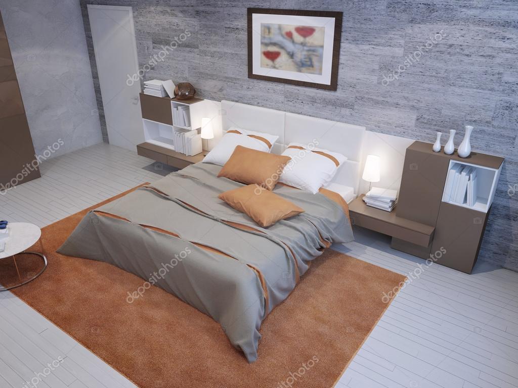 Interno camera da letto spaziosa — Foto Stock © kuprin33 ...