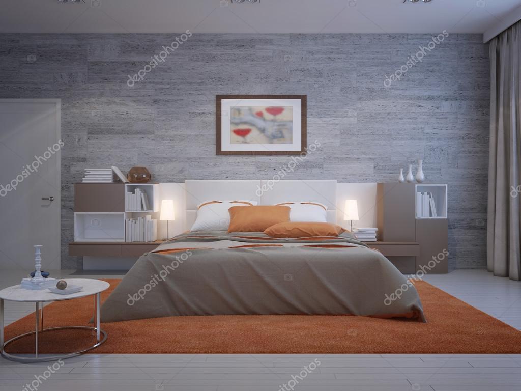 vooraanzicht op gezellige slaapkamer stockfoto