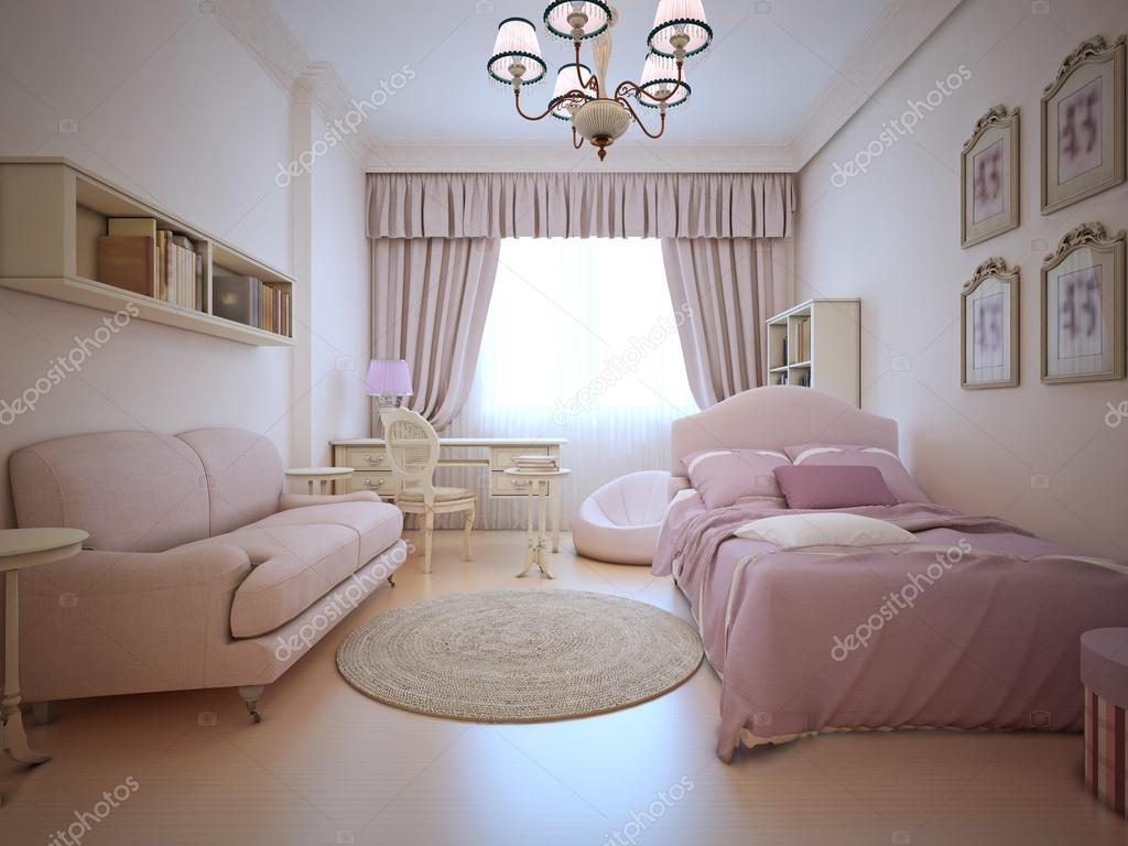 Tieners slaapkamer met zitbank en bed — Stockfoto © kuprin33 #87649276
