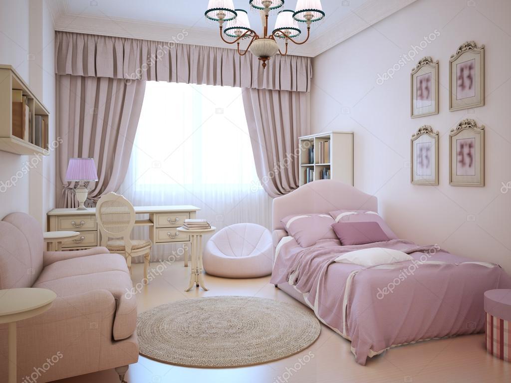 Stedelijke appartement schattige roze meisje kamer u stockfoto