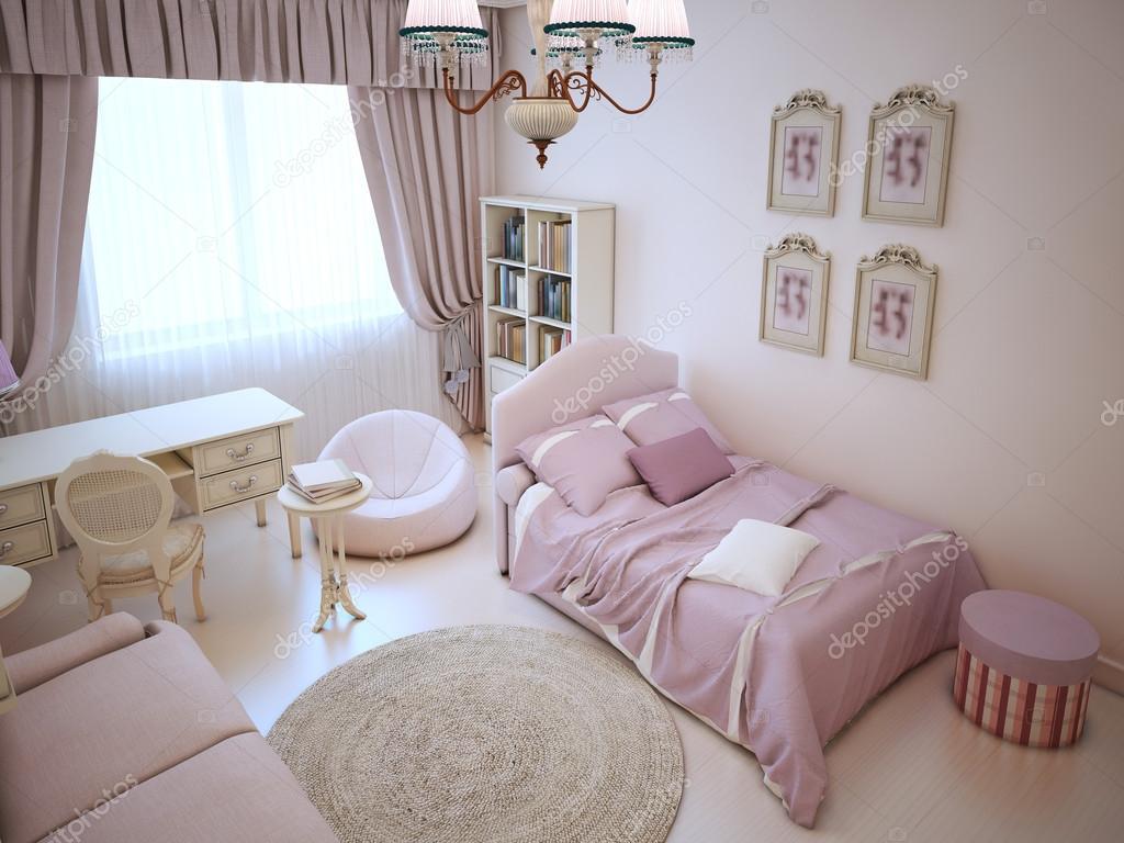 Camera da letto ragazza carina con mobili imbottiti — Foto Stock ...