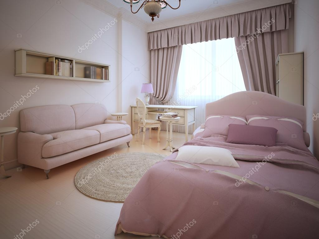 romantische slaapkamer voor tiener meisje stockfoto