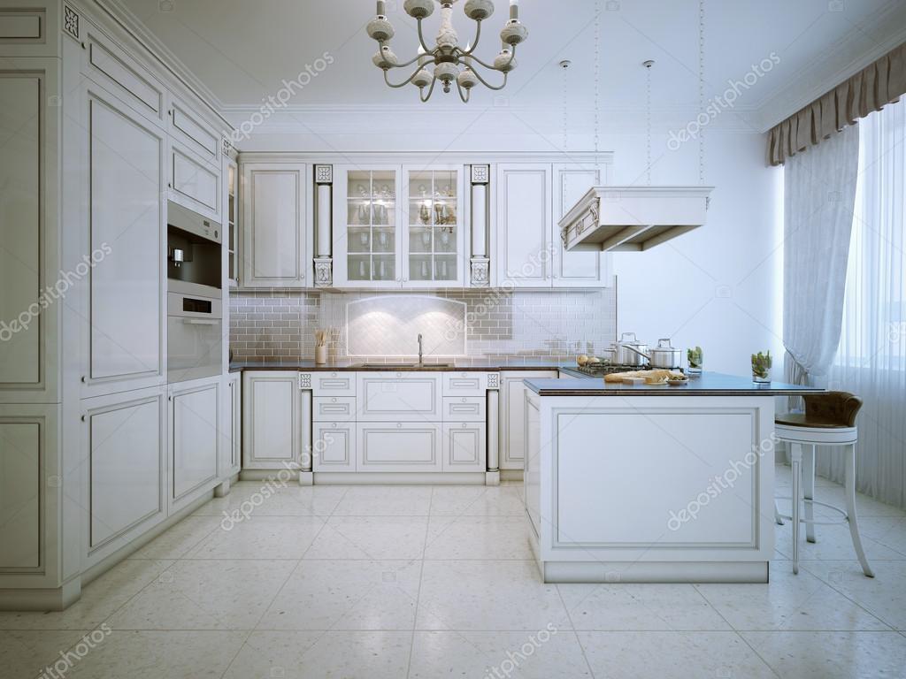 Art-Deco-weiße Küche-Interieur — Stockfoto © kuprin33 #87649416