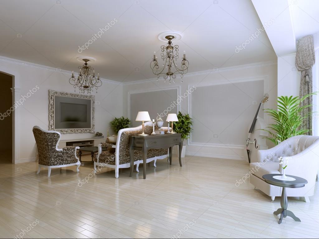 Lichte woonkamer in art deco stijl huis — Stockfoto © kuprin33 #87649944