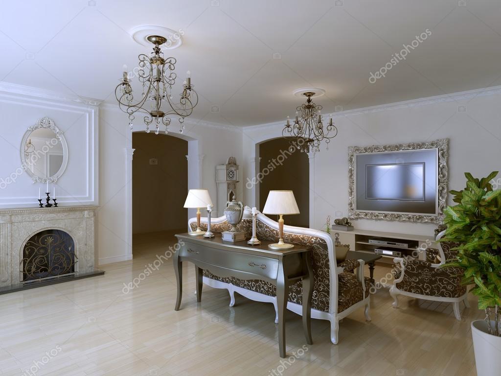 Klassische Lounge Mit Kamin Stockfoto C Kuprin33 87649948