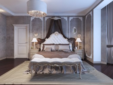 Neoclassical bedroom with frame molding on walls