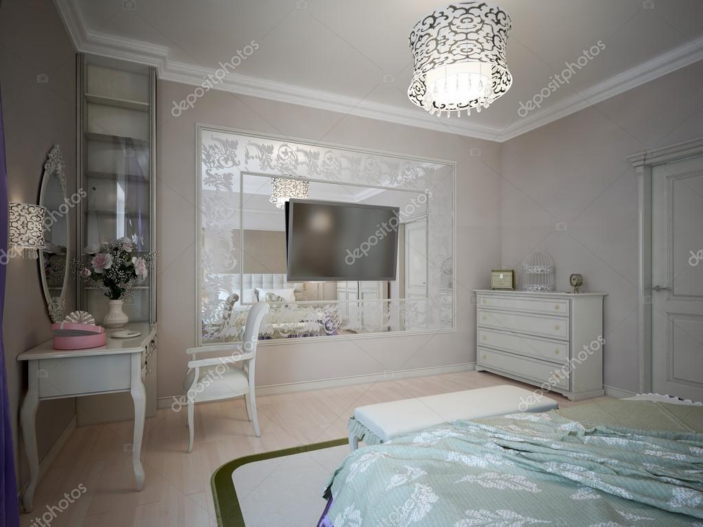 Progettazione della camera da letto con pareti beige — Foto Stock ...
