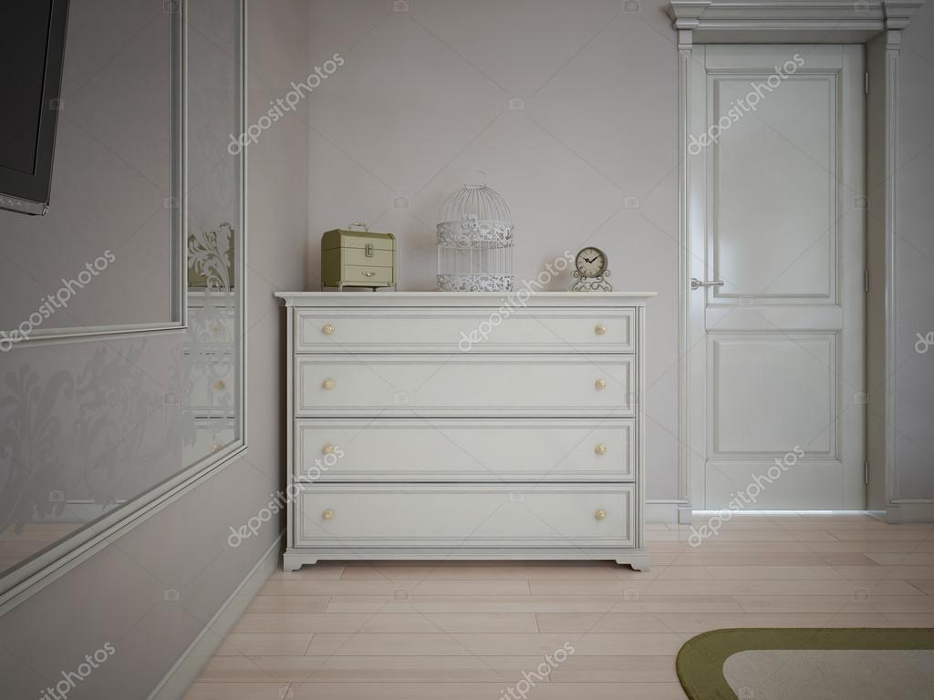 Witte dressoir in slaapkamer met cr mekleurige muren for Dressoir slaapkamer
