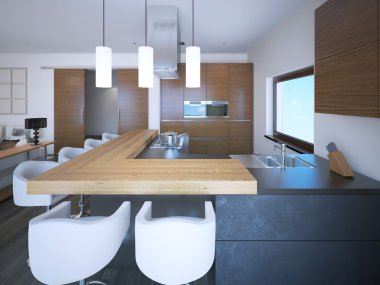 Bright kitchen studio art deco style