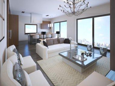 White studio apartment interior