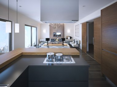 Idea of studio apartments in brown and white colors
