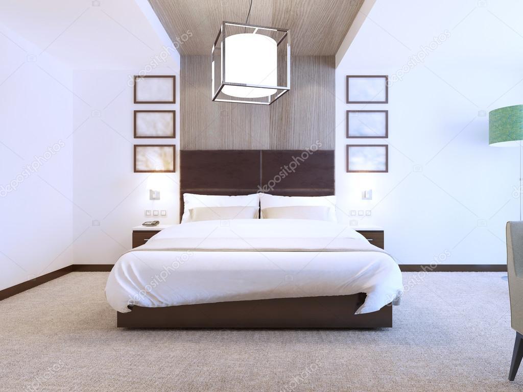 Camera da letto moderna con decorazioni in legno — Foto Stock ...