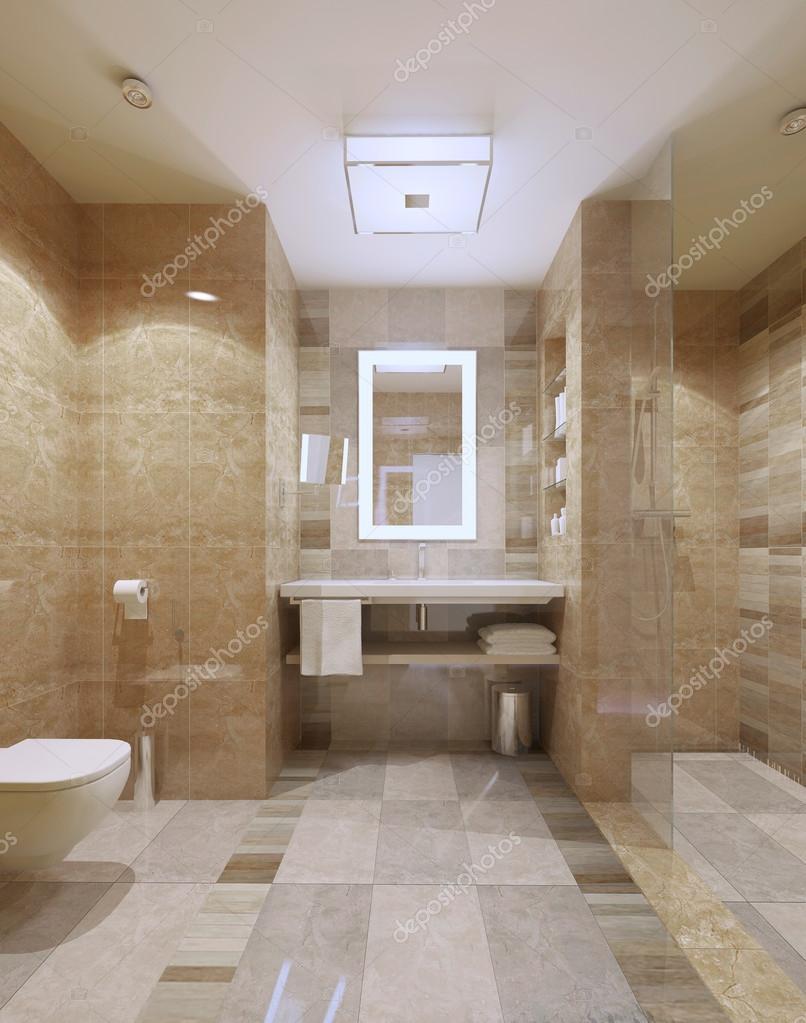 Interior moderno de cuarto de baño con azulejos de mármol — Foto de ...