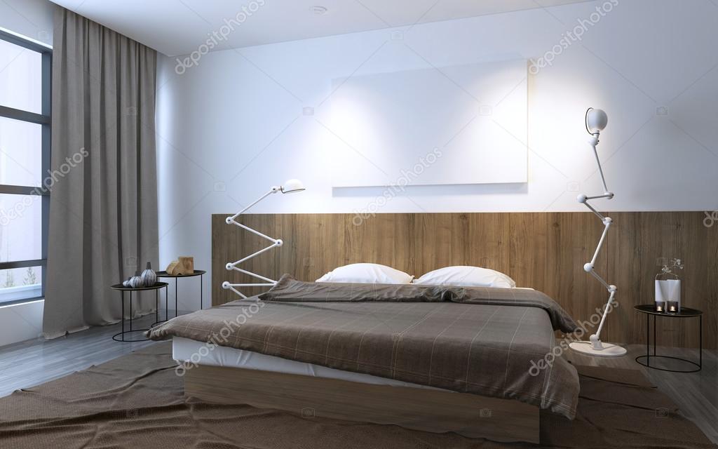 Minimalistisches Schlafzimmer In Der Farbe Braun U2014 Stockfoto
