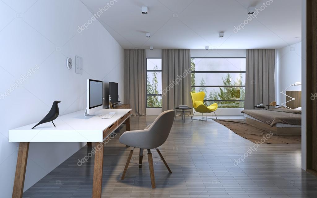 Werkgebied in minimalistische slaapkamer u stockfoto kuprin