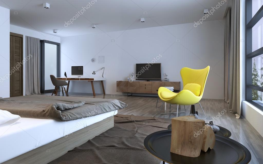 Slaapkamer idee minimalistische interieur u stockfoto kuprin