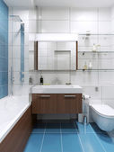 Blue expensive bathroom with shiny tile
