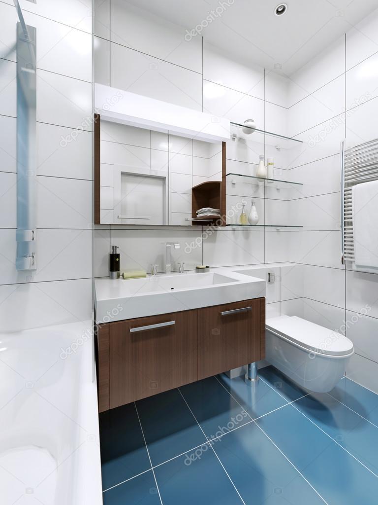 White modern bathroom with blue tile flooring — Stock Photo ...