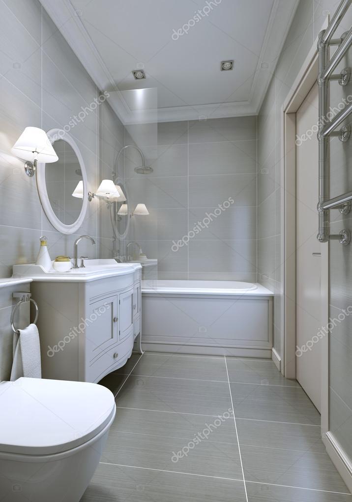 Amplios cuarto de baño moderno con muebles clásicos — Fotos de Stock ...