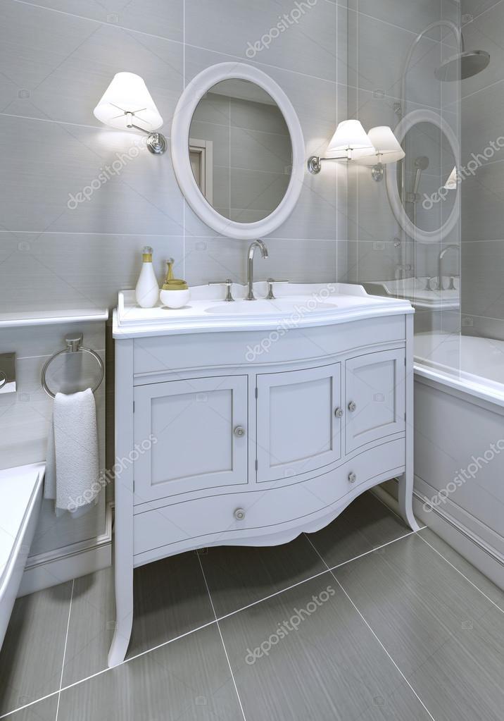 White Art Deco Styled Sink Console In Bathroom U2014 Stock Photo