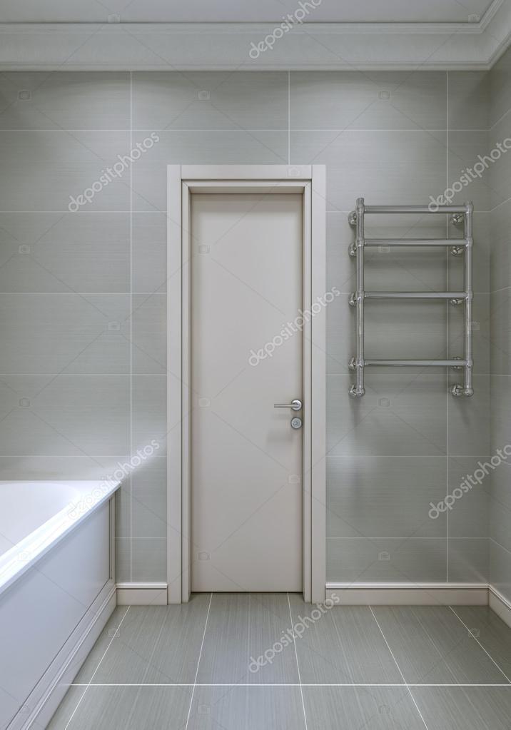 Wejście Do łazienki Z Białe Drzwi Z Drewna Zdjęcie