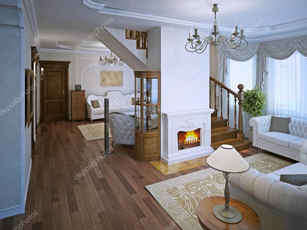 Salon en style art déco avec cheminée — Photographie kuprin33 ...