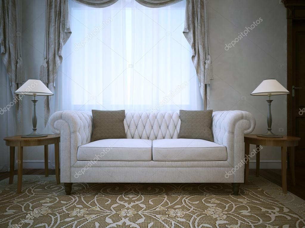 Divano In Lino Bianco : Divano bianco in lino in cotone con lampade su entrambi i lati delle