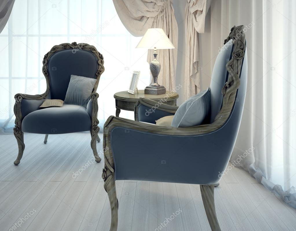 Twee fauteuils in woonkamer art decostijl — Stockfoto © kuprin33 ...