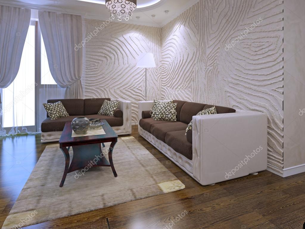 Intérieur de salon art déco avec parois ondulées u2014 photographie