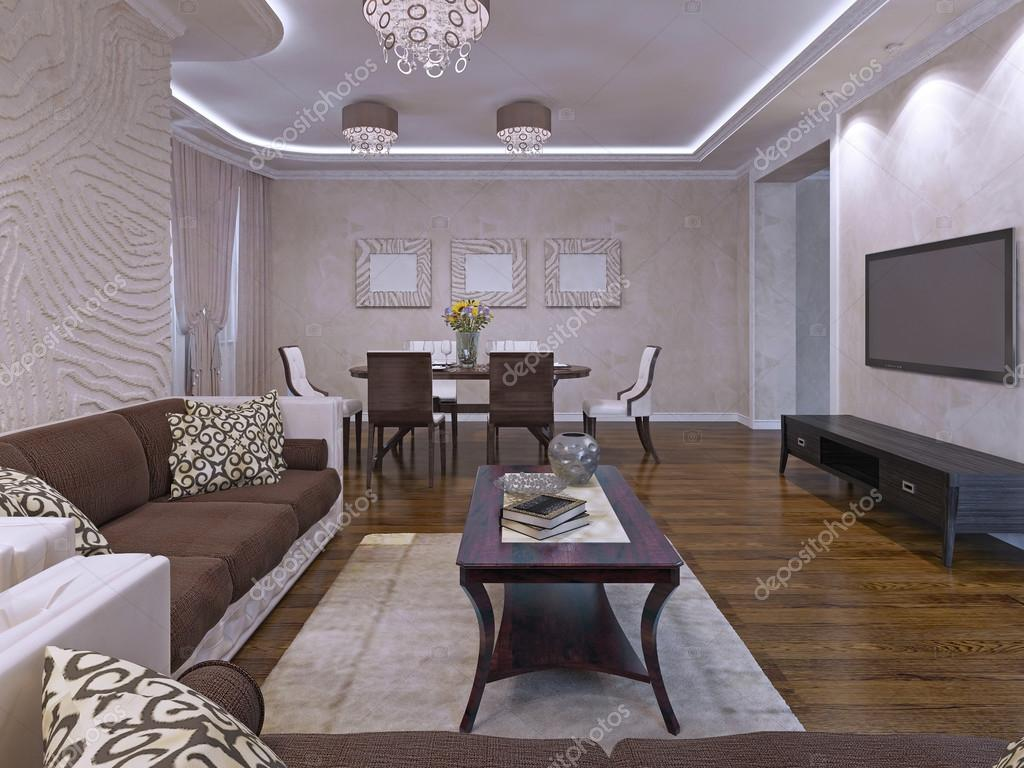 Diseño de la sala del elegante salón en crema y marrón — Foto de ...