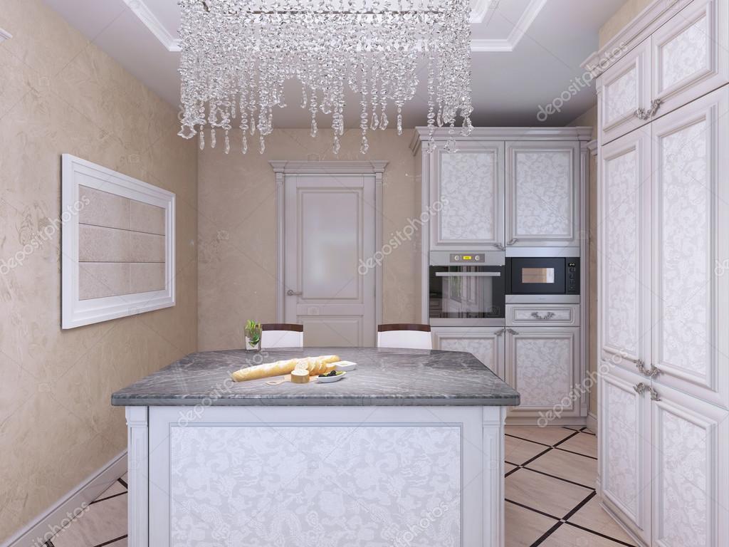 Art deco stijl keuken met eiland bar u2014 stockfoto © kuprin33 #94665876