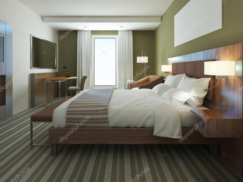Schöne Wohnung Möbliert Komfortables Schlafzimmer Stockfoto