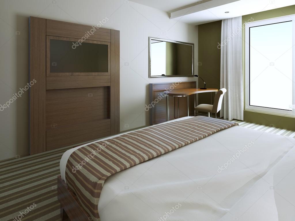 Minimalistischen Stil Schlafzimmer In Olive Farben Weiß, Braun Und Blass.  3D Render U2014 Foto Von Kuprin33