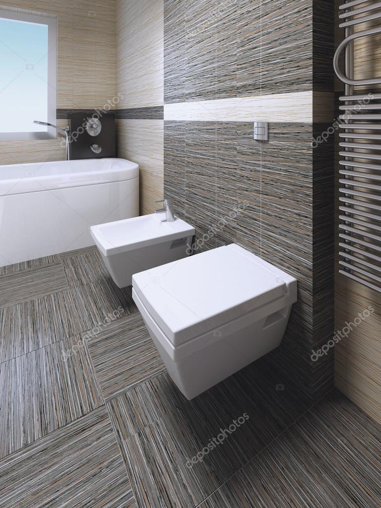 Toalett och bid i moderna badrum stockfotografi for Inodoros modernos 2016