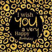 Všechno nejlepší k narozeninám blahopřání. Přeji v černém kroužku na Zlatý vzor, textura. Vektor