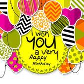 Všechno nejlepší k narozeninám blahopřání. Vzorované balónky s hvězdami, puntíky, srdce, leopard, krokve, pruhy. Barevnými prapory vlajky a lana. Zobrazeno přání karty nebo místo pro váš text. Vektor.