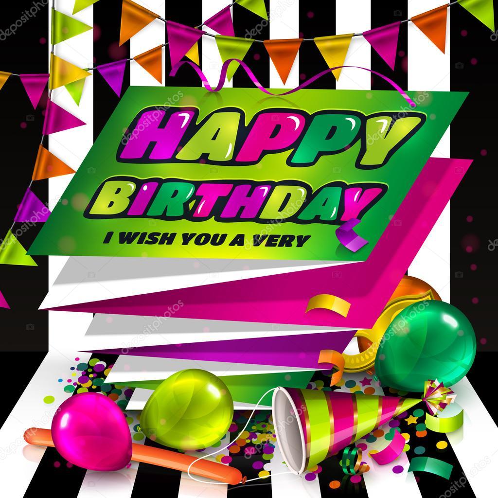 Tarjeta de felicitación del feliz cumpleaños. Texto sobre el papel ...