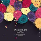 vektorové barevné přání k narozeninám s balóny papíru a přání.