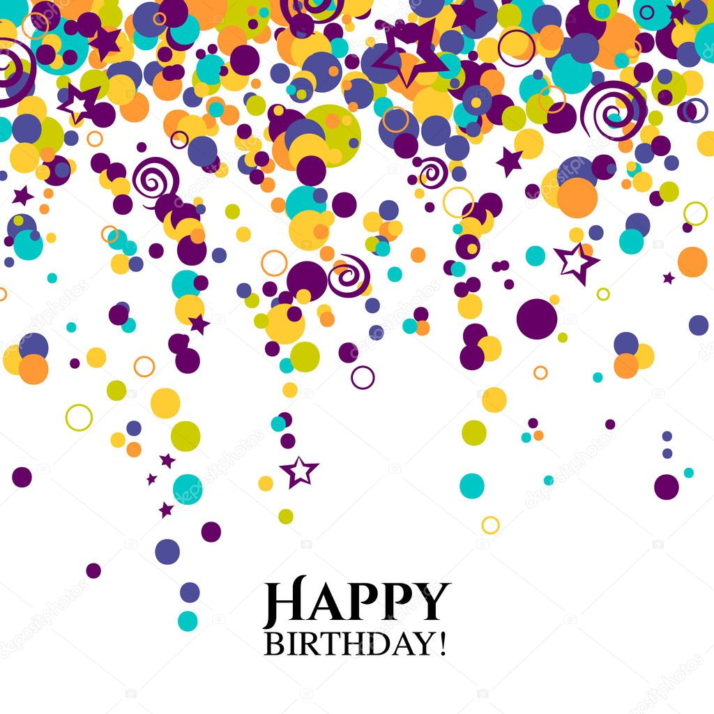 Vector birthday card with polka dots and wishes text.
