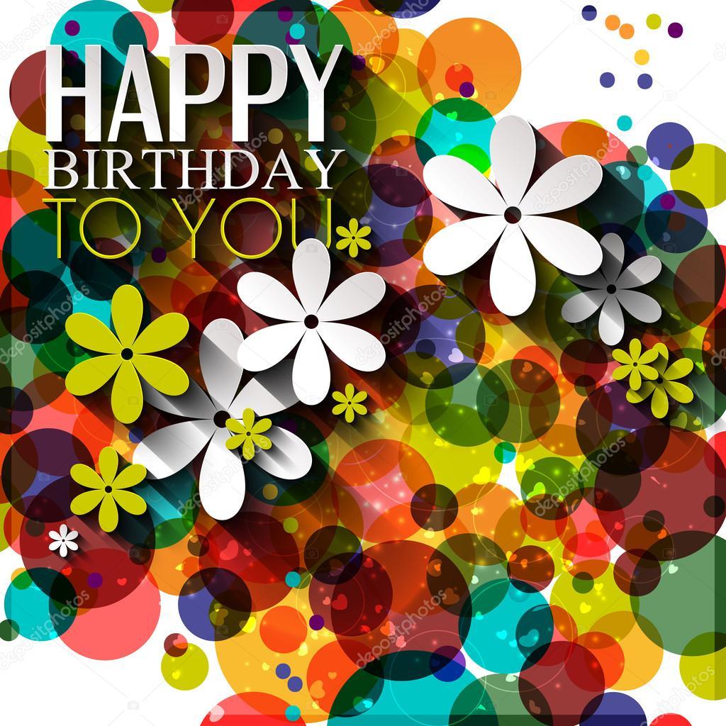 Vektor-Geburtstagskarte mit Blumen in leuchtenden Farben auf Polka ...