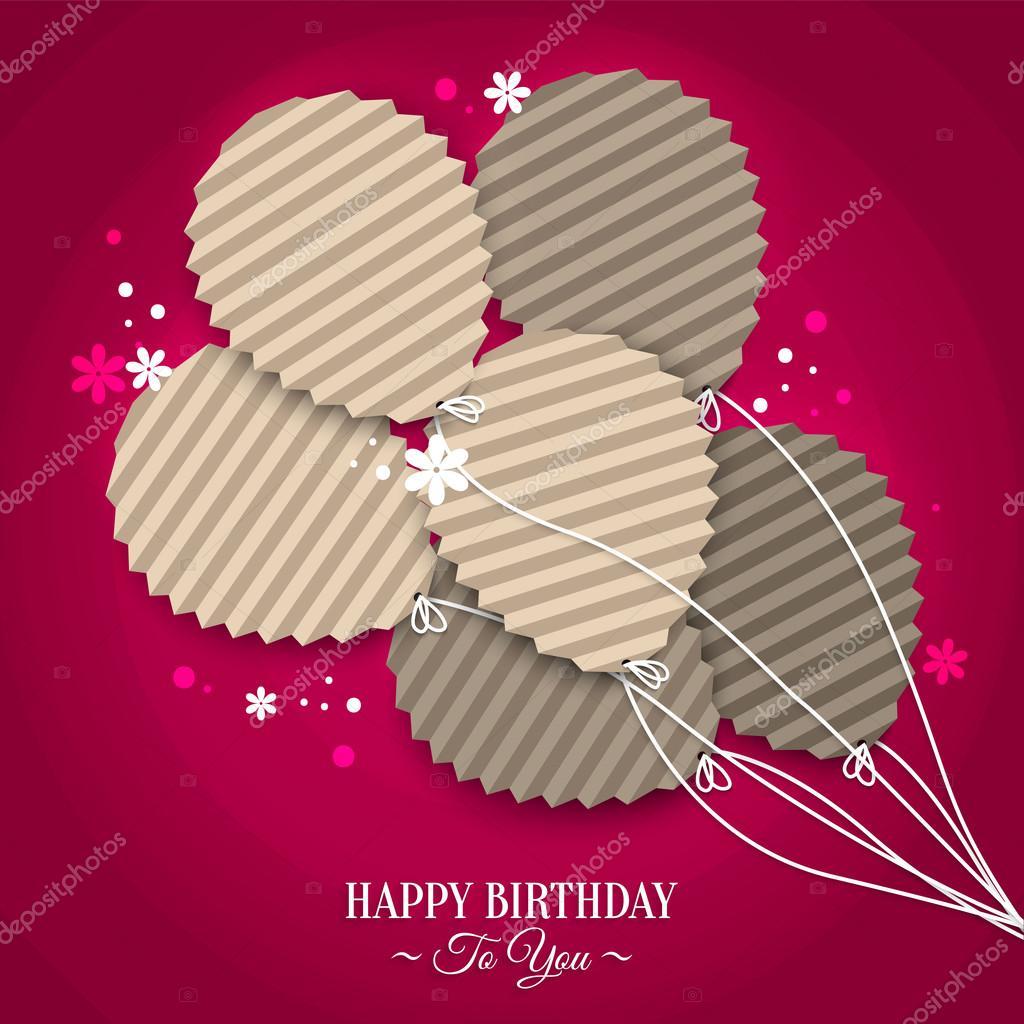 papírová přání k narozeninám s balónky v stylu ploché skládané papírové přání k narozeninám  papírová přání k narozeninám
