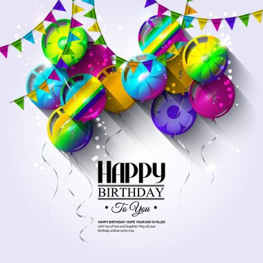 Birthday card with colorful balloons and bunting flags.