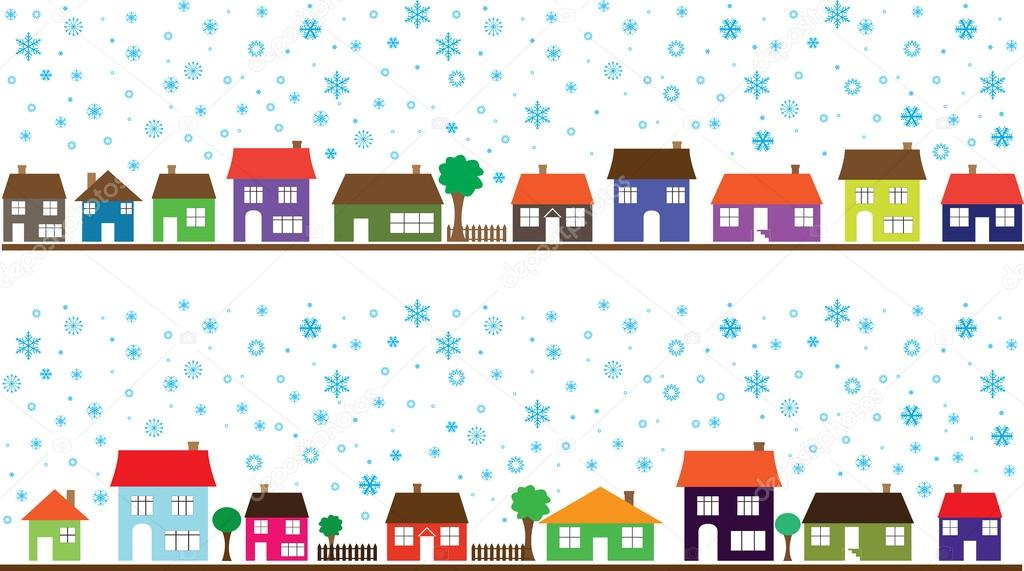 Barrio coloreado con copos de nieve — Vector de stock © alexghidan89 ...