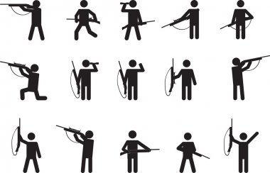 Pictogram people with hunting guns