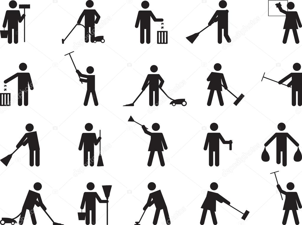 Pictogram people cleaning — Stock Vector © alexghidan89 #62414541 Vacuum Clipart Black And White
