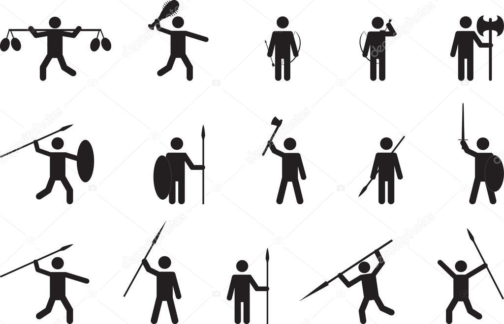 Primitive People With Weapons Stock Vector Alexghidan89 66937727