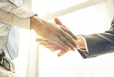 Business handshake. two men reaching an agreement