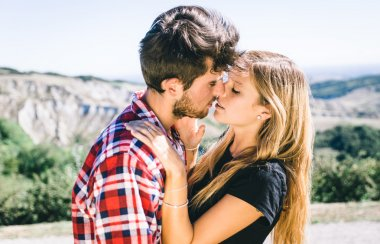 Couple passionated kiss