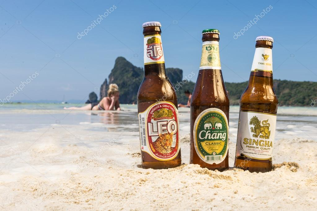 Chang,Singha and Leo beer on the beach