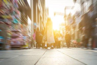 people walking on the street. floor view.